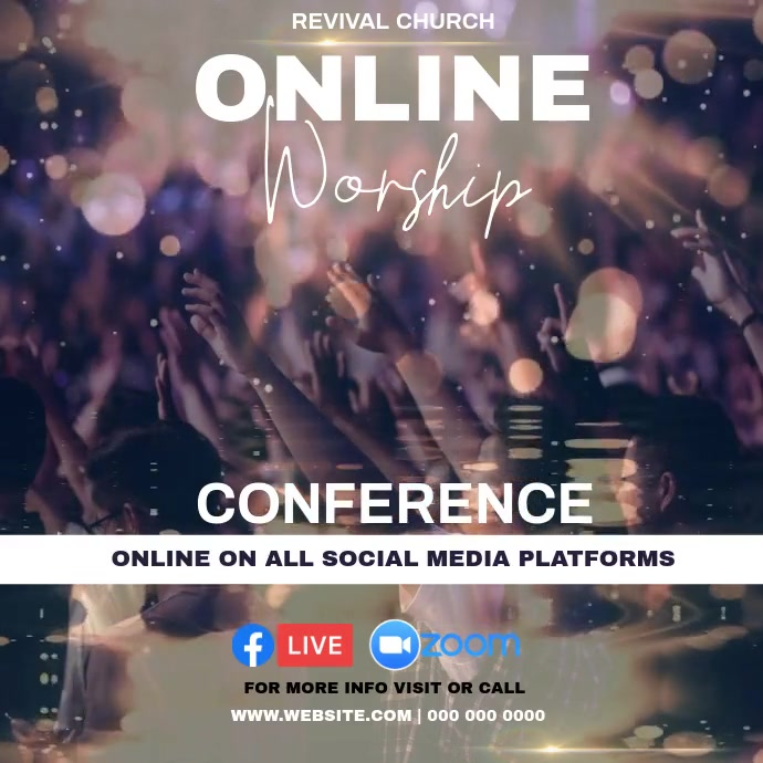 CHURCH ONLINE WORSHIP INSTAGRAM POST TEMPLATE
