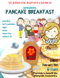 Church Pancake Breakfast Fundraiser Event Flyer