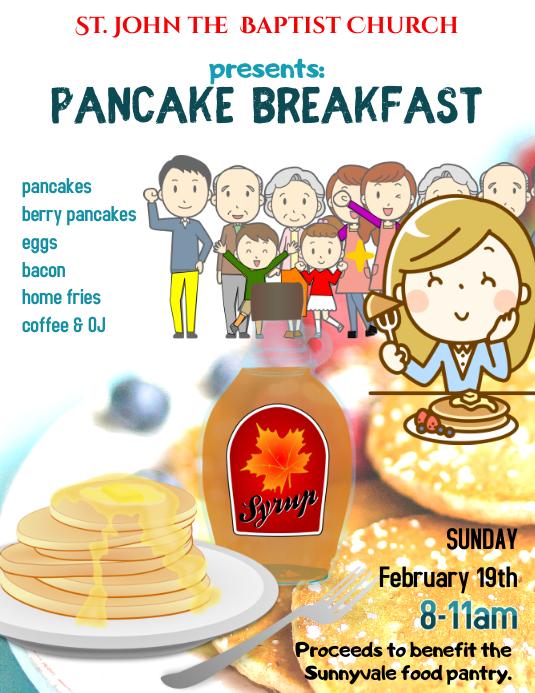 Church Pancake Breakfast Fundraiser Event Flyer