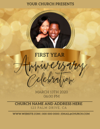 Church Pastor's Anniversary Flyer Template