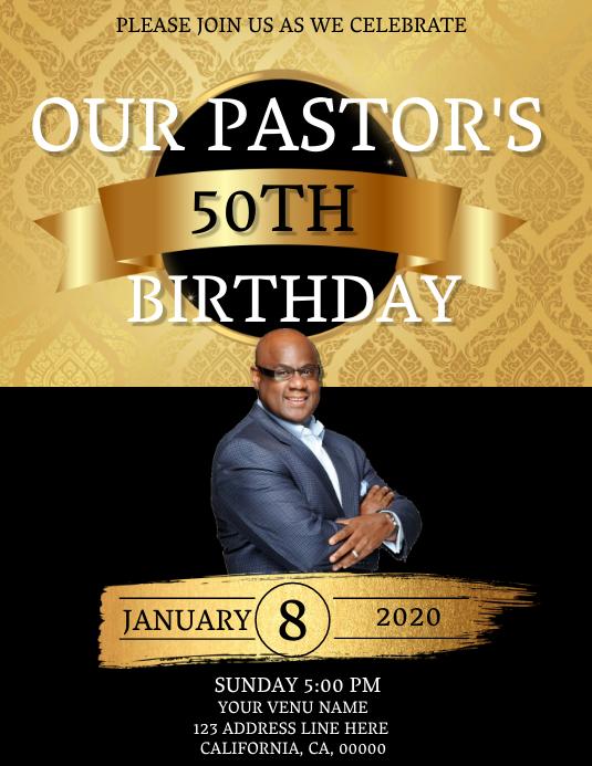 Church Pastor's Birthday Celebration Template Flyer (US Letter)