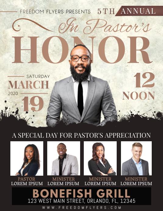 Church Pastor's Honor Celebration Flyer