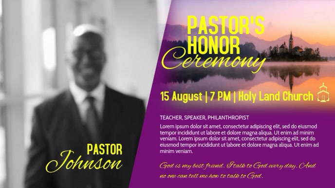 Church Pastor's Honor Ceremony Video Template Tampilan Digital (16:9)