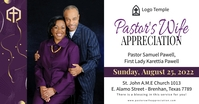 Church pastor's wife appreciation day banner Facebook Shared Image template