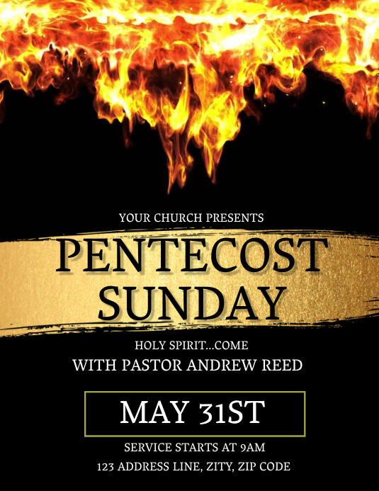Church Pentecost Sunday Flyer Template