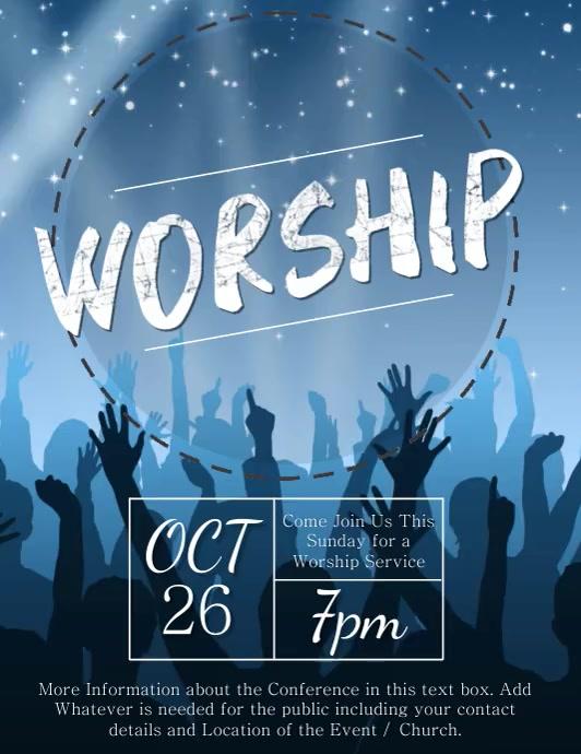 Church Praise & Worship Video Flyer Template