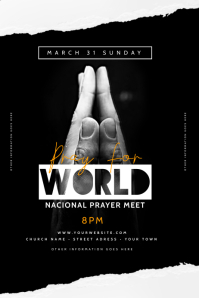 Church Pray Flyer Template Banner 4' × 6'