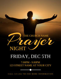 Church Prayer Night Flyer Invitation