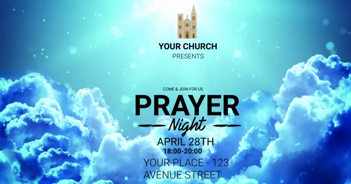 church prayer worship in night ad template Gambar Bersama Facebook