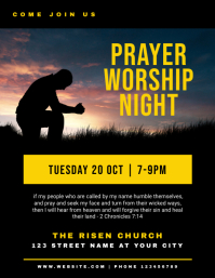 Church Prayer Worship Night Flyer Template