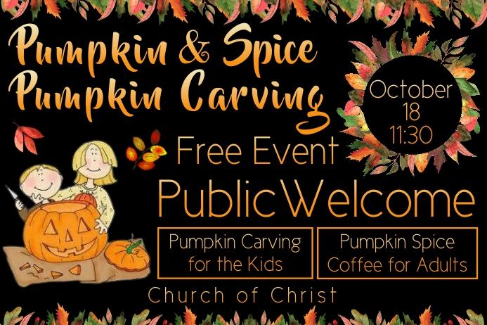 Church Pumpkin Spice Pumpkin Carving Banner template