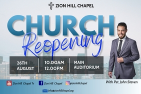 Church Reopening Sunday service Flyer Poster template