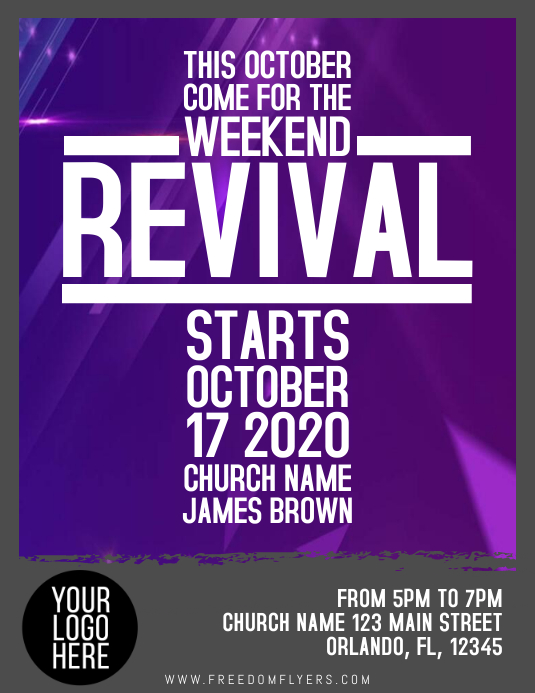 Church Revival Event Flyer Template Design Pamflet (Letter AS)