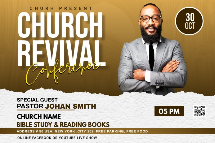 Church Revival flyer Label template