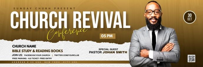 Church Revival flyer Twitter-Kopfzeile template