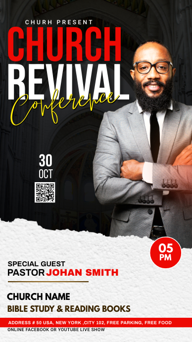 Church Revival flyer Instagram na Kuwento template
