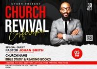 Church Revival flyer Poskaart template
