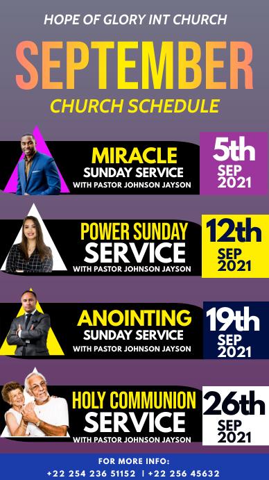 Church schedule Historia de Instagram template