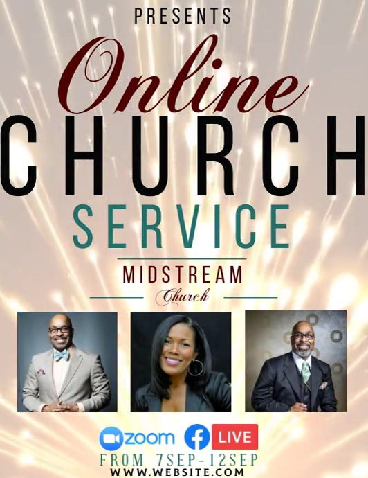 church service ad social media TEMPLATE Ulotka (US Letter)