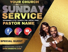 CHURCH SERVICE AD TEMPLATE Pamflet (Letter AS)