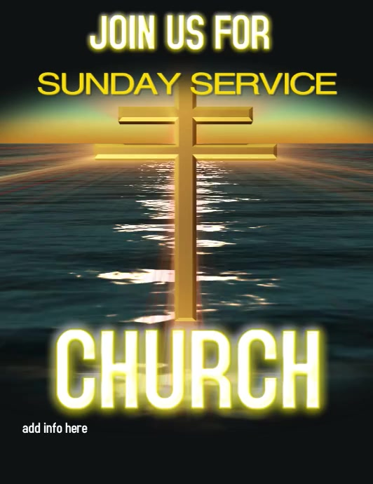 church service church ใบปลิว (US Letter) template