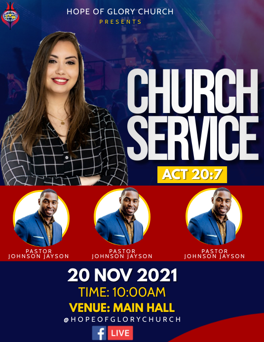 Church Service Flyer (US-Letter) template