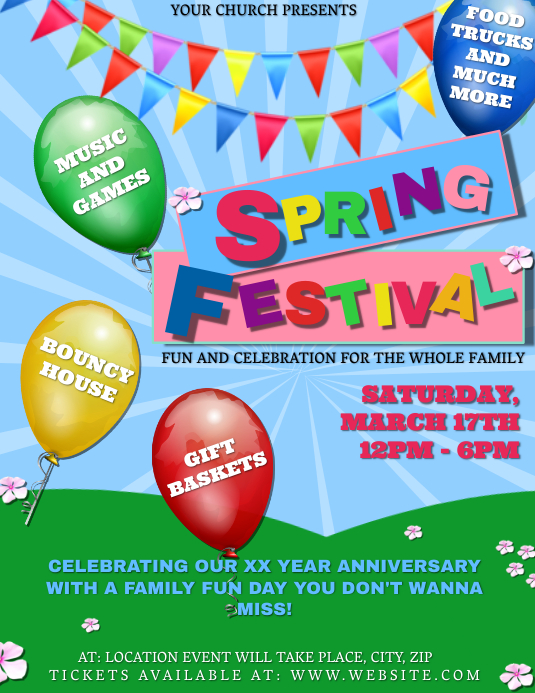 Church Spring Festival Event Template Flyer (US Letter)