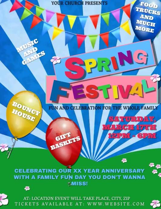 Church Spring Festival Event Template Volante (Carta US)