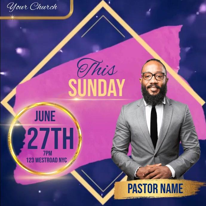 CHURCH SUNDAY SERVICE AD SOCIAL MEDIA Pos Instagram template