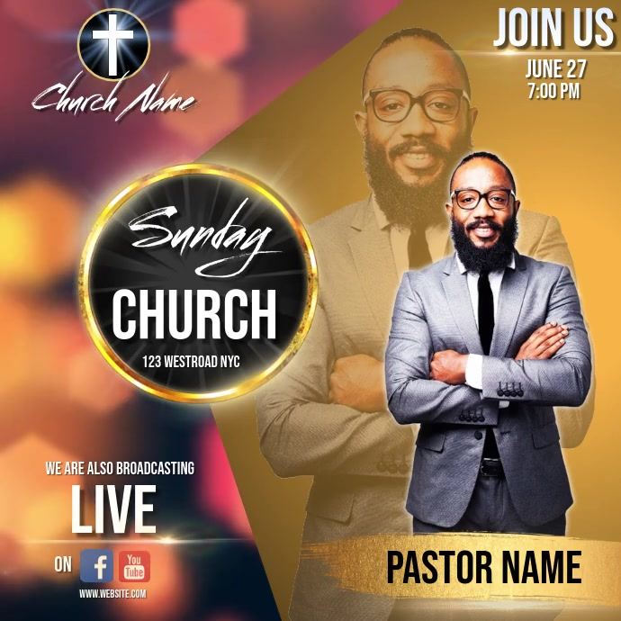 church sunday service ad social media post Cuadrado (1:1) template