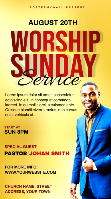 Church Sunday Service ads Historia de Instagram template