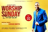 Church Sunday Service ads Banner 4' × 6' template