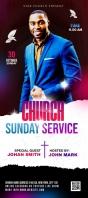 Church Sunday Service ads Rack Card template