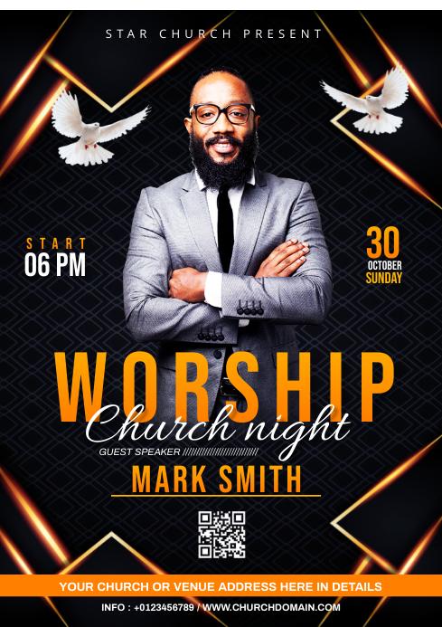 Church Sunday Service ads A3 template