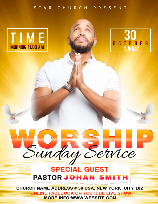 Church Sunday Service ads Volante (Carta US) template
