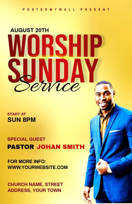 Church Sunday Service ads Полстраницы широкого формата template