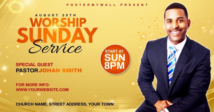 Church Sunday Service ads Facebook 广告 template