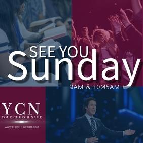 CHURCH SUNDAY SERVICE ANNOUNCEMENT TEMPLATE Persegi (1:1)