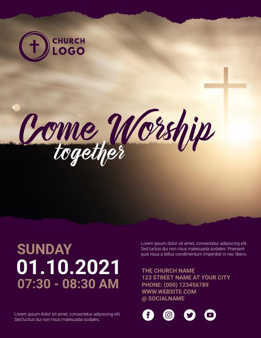 church sunday service Folheto (US Letter) template