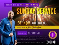 Church sunday service Løbeseddel (US Letter) template