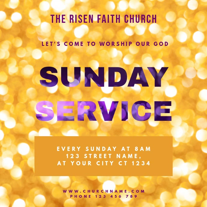 Church Sunday Service Quadrato (1:1) template