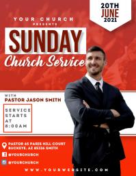 Church Sunday Service Poster Template Рекламная листовка (US Letter)