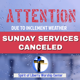 Sunday services canceled Notice