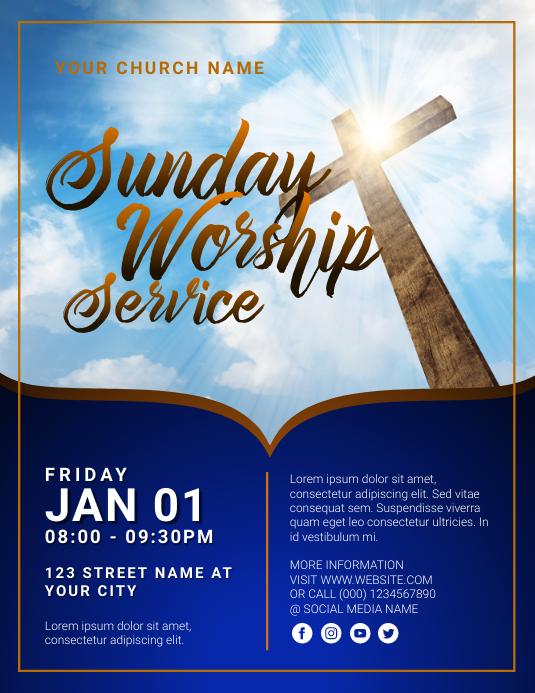 church sunday worship service Folheto (US Letter) template