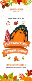 Church Thanksgiving Event Banner Template Oprolbanier 2'×5'