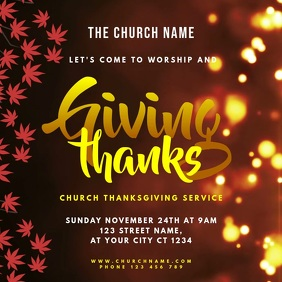 Church Thanksgiving Service 方形(1:1) template