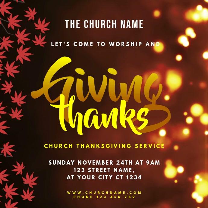 Church Thanksgiving Service Kvadrat (1:1) template