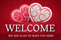 CHURCH VALENTINE'S DAY WELCOME BOARD Template Spanduk 4' × 6'