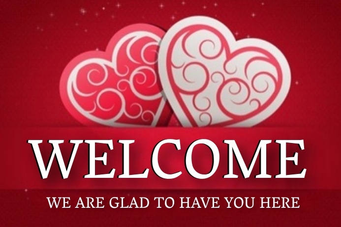 CHURCH VALENTINE'S DAY WELCOME BOARD Template Banner 4 x 6 fod