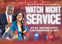 Church Watch Night Service Postcard template